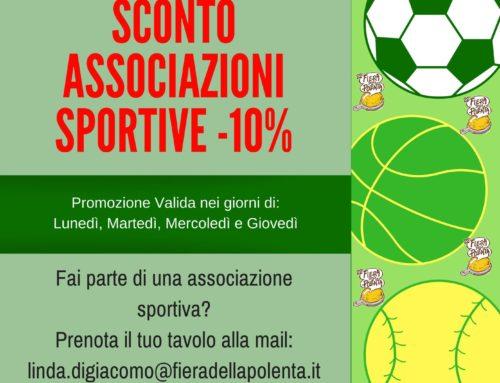 Sconto 10% Associazioni Sportive